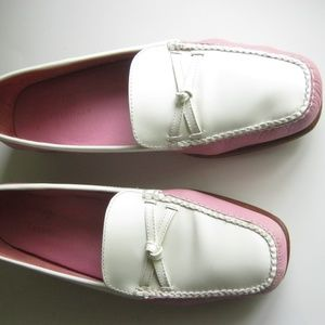 Cole Haan Women's Pink and White Leather Loafers